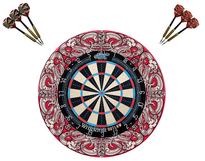 PRO STAR Dart Board Set TIMBER Cherry Colour Cabinet Micro Wire Pro Star + Darts
