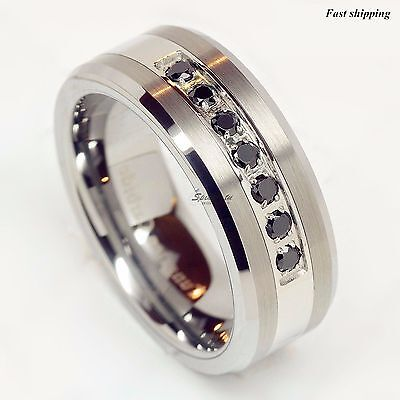 luxury best Tungsten Ring Black Diamonds Mens Wedding Band Brushed size 6-13