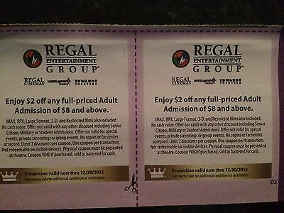 LOT OF 40 Regal Entertainment discount  $2 OFF Movie Ticket   Exp 12/30/2015 ��