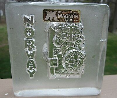 Vintage Magnor Norway Norseman Crystal Paperweight/Mold