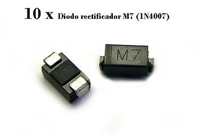 10 x M7 (1N4007) Diodo Rectificador Rectifier Diode DO-214AC SMD
