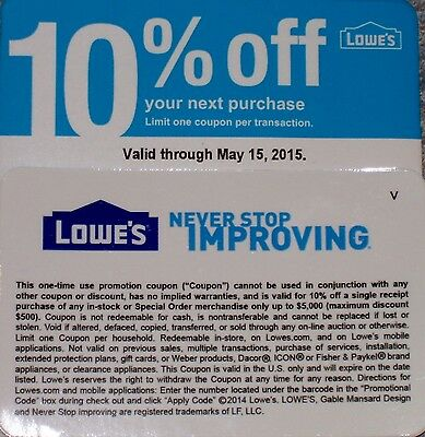 1 Lowe's 10%-off-coupon Card Exp May 15th 5/15/15 Home improvement us-Nationwide