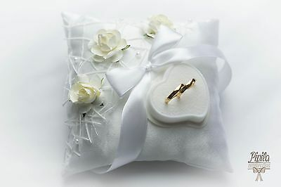 wedding ring pillow, cushion, engagement ring holder, white roses, P18