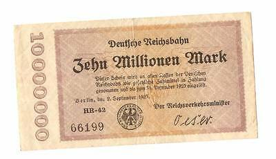 1923 Germany REICHSBAHN 10.000.000 / 10 million mark banknote