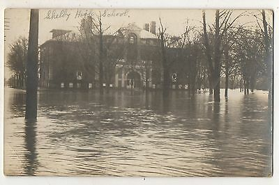 RPPC Flood! High School in SHELBY OH Richland County Ohio Real Photo Postcard