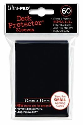 60 ULTRA PRO SMALL BLACK DECK PROTECTORS SLEEVES Yugioh Vanguard