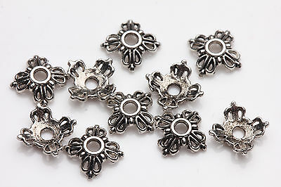 100pcs Tibet silver Flower Spacer Beads Caps Pendant Jewelry Finding 6X2MM