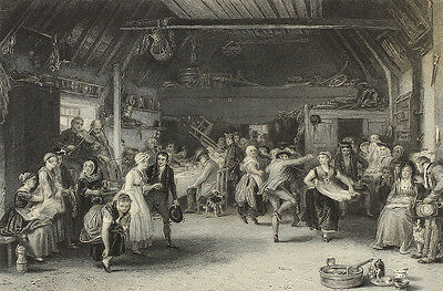 The Penny Wedding. Stahlstich von Greatbach nach Wilkie, 1860