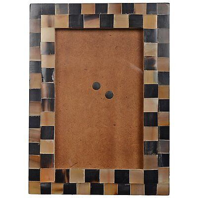 """Antique Style Polished Gift Item Organic Horn Mosaic 4""""x 6"""" Photo Picture Frame"""