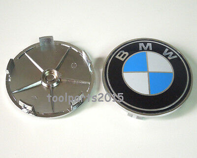 4 pcs BMW WHEEL CENTER CAPS 68 mm White and Blue For 1 3 5 7 Series X1 X3 X5 X6