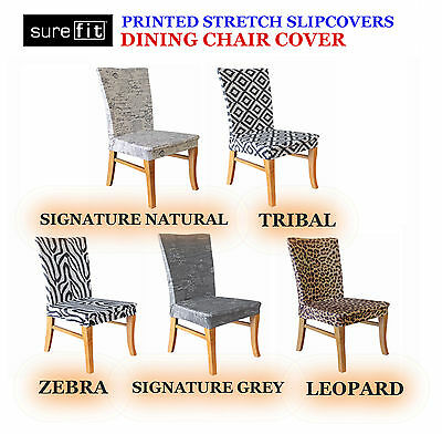 SUREFIT Stretch Printed Dining Chair Covers In Natural Grey Zebra Tribal Leopard