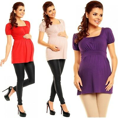 Zeta Ville - Women's Maternity Empire Waist Ruched Neck Stretch Top 10-18 – 408c