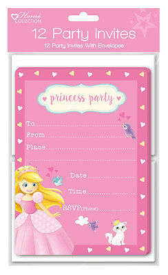 Pack of 10 Fairy Princess Birthday Party Invitation Cards and envelopes