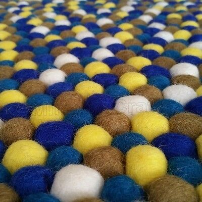 Bloom Blue Original Mimosa Design 100% Wool Felt Ball Rugs Kids Boy Nursery Mat