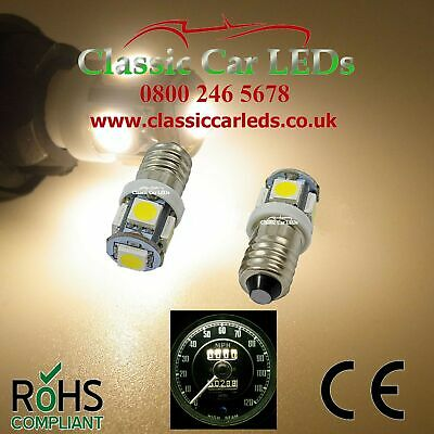 2x WARM WHITE POSITIVE EARTH MG TRIUMPH JAGUAR AUSTIN HEALEY MORRIS LED BULB E10