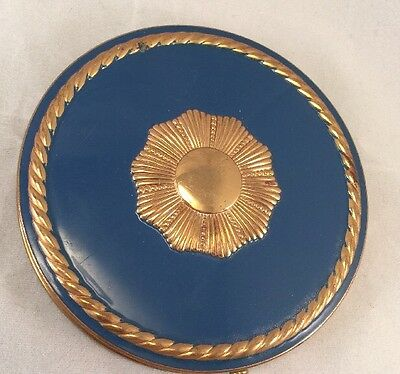 "VINTAGE ART DECO BLUE ENAMEL GOLD TONE REX FIFTH AVENUE 4"" Large LADIES COMPACT"