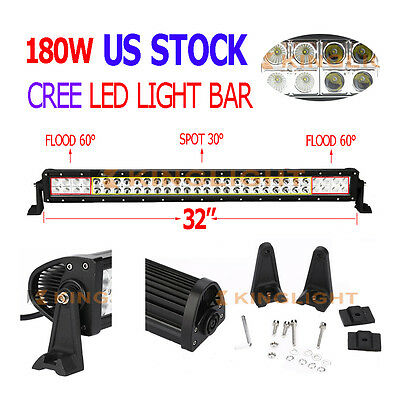 """32"""" 180W CREE LED WORK LIGHT BAR FLOOD SPOT COMBO SUV TRUCK OFFROAD 4WD for FORD"""