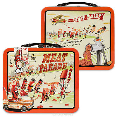 Marching Meat Parade Retro Metal Lunchbox - Bacon Sausages Mince Grinder Pork