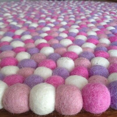 Marshmallow Original Mimosa Design 100% Wool Felt Ball Rugs Kids Nursery Carpet