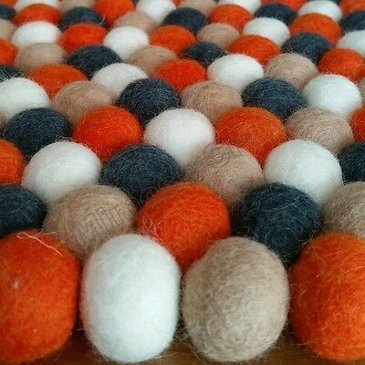 Hillcrest Genuine Mimosa Design 100% Wool Felt Ball Rugs Kids Nursery Bright Mat