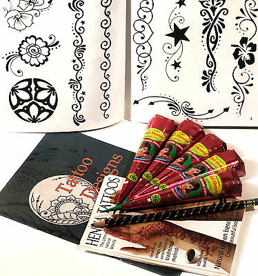 HENNA ART EXTRA LARGE TATTOO KIT, 10 PAGE DESIGN BOOKLET, UK FREE POST tr