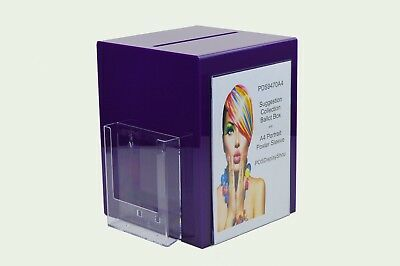 Suggestion Box / Collection Box with Leaflet + Poster Holder PDS9470A4 Purple