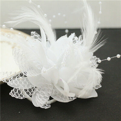 FEATHER HEADBAND WRIST Flower Wedding Party Prom Corsage Pearl Lotus White