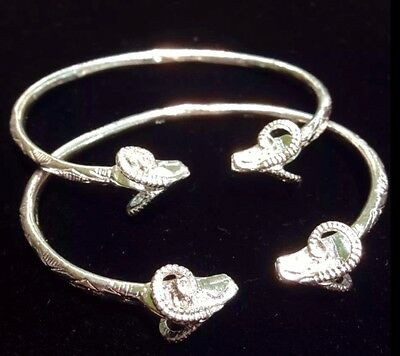 Pair Of New Ram Head Handmade West Indian Sterling Silver Bangles