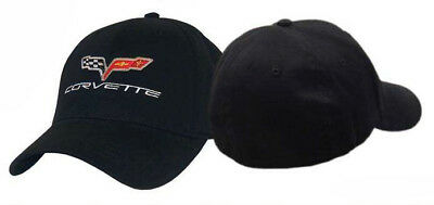 Corvette C6 Racing Flags Perfect Fit Black Cotton Twill Embroidered Hat Cap