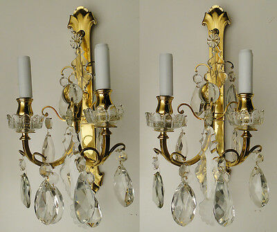 Antique pair French sconces Chiseled gold bronze Crystal platelets