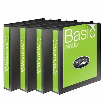 Wilson Jones 4-Pack Black Customizable 1-Inch Round Ring Office View Binder