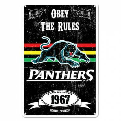 Penrith Panthers NRL Retro Tin Wall Sign Obey The Rules Man Cave Bar Gift