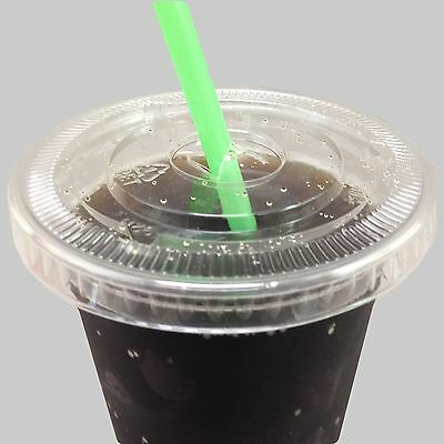 50 Sets of 12 oz Clear PET Disposable Cups, Flat Lids and Straws for Iced Drinks