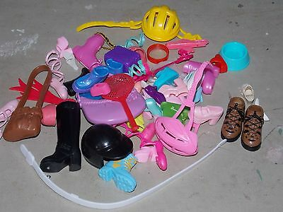 Lot of Doll Items Barbie & Others Mix Lot Shoes, Purse, Helmets & More