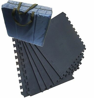 AWNING EVA FLOOR TILE MAT STORAGE BAG complete with 12 BLACK TILES and ALL EDGES