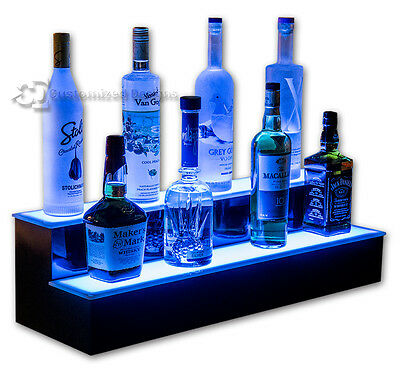 "34"" 2 Step Tier LED Lighted Shelves Illuminated Liquor Bottle Bar Display Stand"