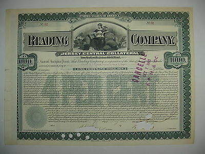 1901 Reading Company Bond Stock Certificate Railroad Jersey Central