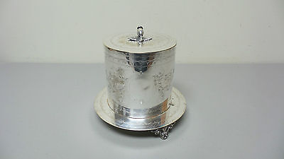 Nice Antique English Silver Plated Footed Biscuit Barrel, Engraved Floral Design