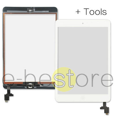 For White iPad mini 1/2 Touch Glass Digitizer Screen Replacement IC Home Button