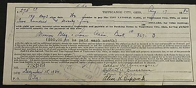Antique 1932 Tippecanoe City Ohio Tipp National Bank Loan Receipt Credit