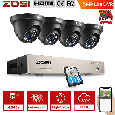 ZOSI 8CH 1080N TVI DVR 1500TVL In/Outdoor Dome Home CCTV Security Camera System