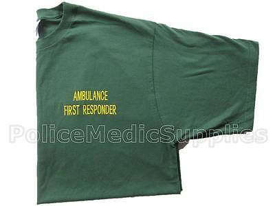 Green AMBULANCE FIRST RESPONDER Embroidered T-Shirt for Service Community