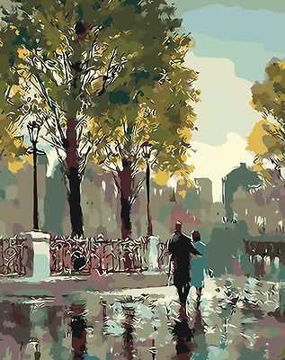 Acrylic Paint By Numbers Kit Canvas Lovers Rain 50*40cm S5 8088 AU STOCK