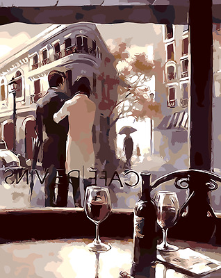 Acrylic Painting By Numbers Kit Canvas Cafe Lovers 50*40cm S5 8087 AU STOCK
