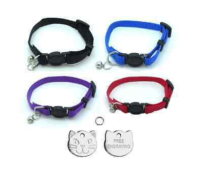 Cat Collar, With Bell, Quick Release With Free Engraved 22mm Cat Face ID Tag P&P