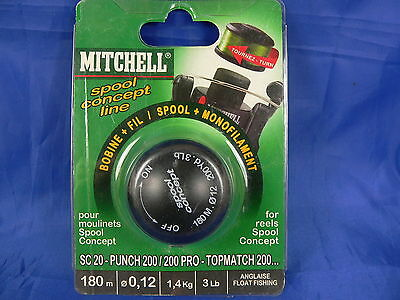 Bobina mulinello Mitchell SC20 - punch 200 - topmatch 200 etc... 180 mt 0,12