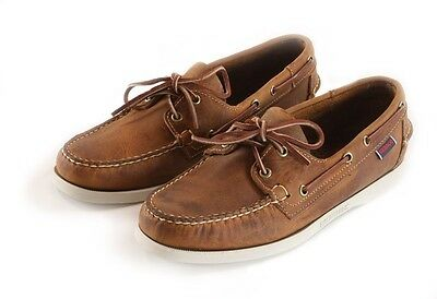 a4f04209d73f0 Men's Sebago Docksides Boat Shoe Distressed Tan Brown with White Sole 72652
