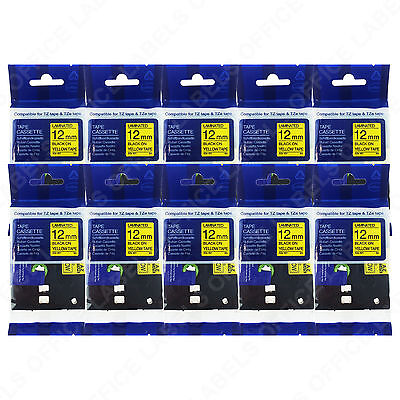 10 TZe-631 Black on Yellow BROTHER® PTouch® Compatible Tape 12mm x 8m