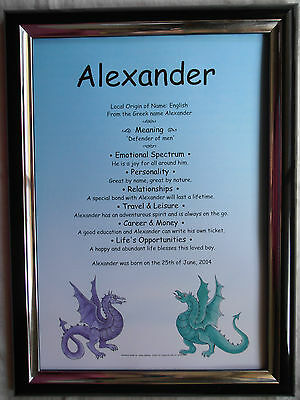 Fantasy Dragon Theme First Name Meaning Scroll * Any First Name Available