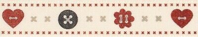 Berisfords Ribbon 15mm Red/Natural Buttons - sold by the metre